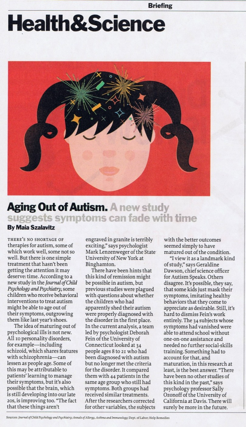 "Time Magazine article ""Aging out of Autism"" 02-04-2013"